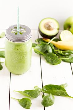 ... green smoothie with avocado spinach apple and ginger ...