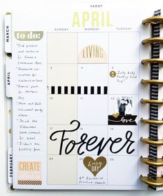 black & gold April monthly layout in The Happy Planner™ of mambi Design Team member Theresa Doan   me & my BIG ideas