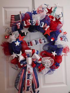 Fourth+of+July+wreath+by+LanaRayneCreations+on+Etsy,+$85.00