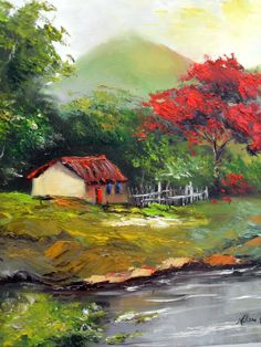 Oil painting by Melissa Raloski - Art Painting Farm Paintings, Bob Ross Paintings, Watercolor Landscape, Landscape Paintings, Watercolor Art, Autumn Scenery, Spring Painting, Building Art, Beginner Painting