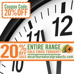 Last Chance - 20% OFF Sale on Entire Range ends Midnight Tonight - Don't be Disappointed!  Stock up for Christmas and take advantage of this generous discount offer across the entire range of McArthur Natural Products in our online store by entering the coupon code 20%OFF at the final stage of the checkout to receive 20% OFF your order.   Offer expires midnight WST Wednesday 16th November, 2016. Not available in conjunction with any other offer.