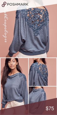 Anthropologie Bria Lace-Back Sweatshirt Gorgeous top by Meadow Rue in a pretty denim blue cotton blend fabric, soft and romantic with the intricate lace detailing Anthropologie Tops Sweatshirts & Hoodies