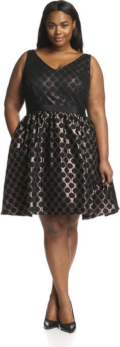 Plus Size Short Dot Jacquard Dress