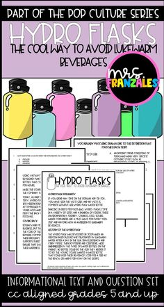 Close Reading Passage Informational Text Hydro Flasks Part of the Pop Culture Series Reading Comprehension Middle Grades ELA Reading Elementary Upper Elementary Test Prep Classroom Teaching Ideas No Prep Common Core Aligned Close Reading Lessons, Close Reading Strategies, Reading Resources, Reading Activities, Group Activities, 6th Grade Ela, 6th Grade Reading, Sixth Grade, Guided Reading