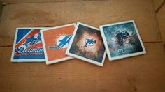 Set of 4 Miami Dolphins handmade coasters by ManCaveQuilts1 on Etsy