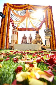 Gold and red mandap-- Indian wedding ceremony