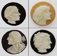 Artist Judith G. Klausner works with more than just baby teeth and nail clippings, mind you. She also carves detailed cameo portraits out of that white frosting stuff inside Oreo cookies. Yum!