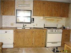 older model mobile home makeover before and after | kitchen