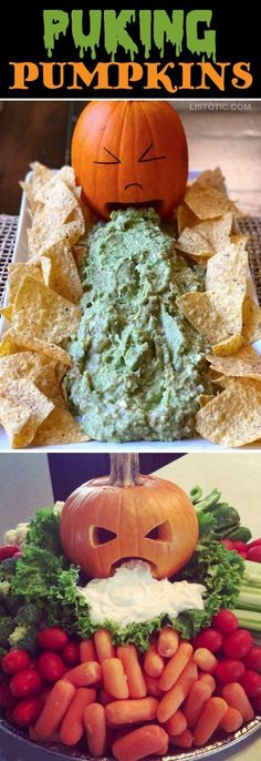 My 10 FAVORITE Halloween Party Appetizers! PUKING PUMPKINS-- easy, creepy and fun! These scary Halloween party appetizers are great for both kids and adults! They're all perfect for a crowd, including finger foods and easy dips. Most of them are quick mad Halloween Party Snacks, Holloween Party Ideas, Comida De Halloween Ideas, Halloween Fingerfood, Dessert Halloween, Soirée Halloween, Snacks Für Party, Appetizers For Party, Halloween Costumes
