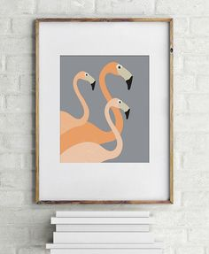 10 Contemporary Art Prints For Animal Lovers // Flamingos