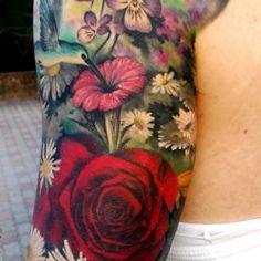 b3b769341f3cc Floral full sleeve Girly Tattoos, Sweet Tattoos, Flower Tattoos, Body  Tattoos, Tatoos