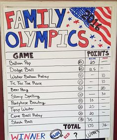 Create your own Family Olympics! Adults and kids compete in a variety of backyard games including water balloon relays, slosh ball, dodge ball, wheelbarrow races and more!