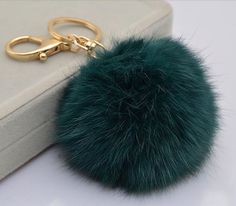 Cute Genuine Leather Rabbit fur ball plush pom pom keychain for car key ring Bag Pendant BLUE GREEN