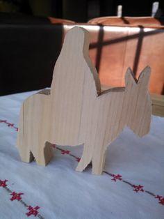 UNFINISHED WOOD figure Mary on Donkey