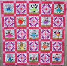 Ballerina animal applique PDF baby girl quilt pattern; whimsical child's animal ballet quilt pattern; easy pieced tiara quilt block pattern by MsPDesignsUSA on Etsy