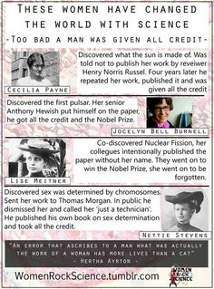 Women who Changed the World with Science (Too Bad a Man was Given All Credit)
