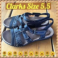 CLARKS Black Leather Ankle Strap Sandal 5.5 Like New! Worn once! Clarks black leather sandals with contrast stitching - adjustable Velcro ankle strap - contoured supremely comfortable footbed. Size 5.5 LOVE Clarks Clarks Shoes Sandals