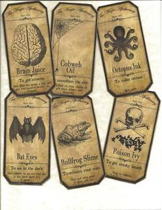 LOT OF~12 Vintage look LABELS~Halloween Apothecary~primitive labels ~ | eBay