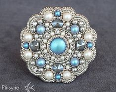 Bead embroidery brooch with swarovski rhinestones, pearls, crystals and silver seed beads, grey whit Bead Embroidery Jewelry, Beaded Embroidery, Beaded Jewelry, Beaded Bracelets, Jewellery, Beaded Crafts, Beaded Ornaments, Handmade Jewelry Business, Art Perle