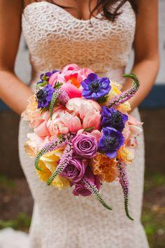 Gorgeous colorful wedding bouquet.