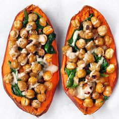 Stuffed Sweet Potato with Crispy Chickpeas, Spinach and Tahini on the feedfeed