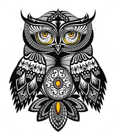 Owl Bird by ksyxa Vector Tattoo Art Owl Dragon Tattoo Art, Celtic Dragon Tattoos, Owl Tattoo Design, Tattoo Owl, Owl Vector, Vector Art, Image Vector, Mandala Drawing, Mandala Art