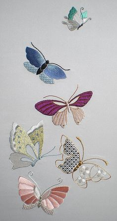Sashiko Fabric - Butterflies and Sashiko - Sylvia Pippen Sashiko Pre-printed Fabric Kit - Japanese Embroidery, Quilting, Sewing - Embroidery Design Guide Butterfly Embroidery, Silk Ribbon Embroidery, Crewel Embroidery, Hand Embroidery Patterns, Embroidery Thread, Machine Embroidery Designs, Embroidered Butterflies, Simple Embroidery, Embroidery Supplies
