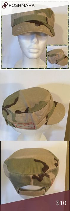 Vintage Distressed Camo Hat, NWOT Vintage distressed washed cotton Army Cadet hat with red x stitching, has a faded out look with Velcro adjustable closure. 100% cotton Boutique Accessories Hats
