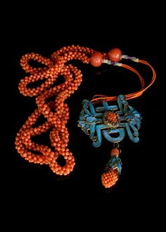 Chinese Coral Enamel Kingfisher necklace
