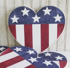 American Flag Heart Hand Painted Patriotic Sign Home Decor Handcrafted by The Country Workshop 4th July Crafts, Fourth Of July Decor, 4th Of July Decorations, July 4th, Patriotic Room, Patriotic Crafts, Wooden Hearts Crafts, Salvaged Wood Projects, Americana Crafts