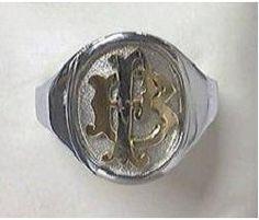 Chevalière homme argent et initiales en or 18 carats - Réf. ACF46TA