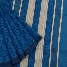 Khoj Madison Blue Handprinted Lightweight Maheshwari Silk Cotton Saree with Floral Motifs 10002405 - AVISHYA