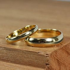 Items similar to Yellow Gold Wedding Band Set, Half Round Classic Style and Rings, Recycled Gold, Handmade Wedding Jewelry, The Forgery Jewelers on Etsy Handmade Wedding Jewellery, Gold Wedding Jewelry, Gold Jewelry, Jewelry Rings, Wedding Ring Styles, Wedding Band Sets, Ring Verlobung, Gold Rings, Wedding Vintage