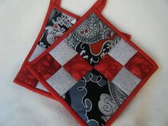Beautiful Oriental Print Quilted Potholders by KraftyGrannysHome, $15.50