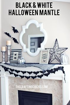 Black and White Halloween Mantle. Great decorating idea. Love the chick yet simplistic design. #halloween #decor #blackandwhite