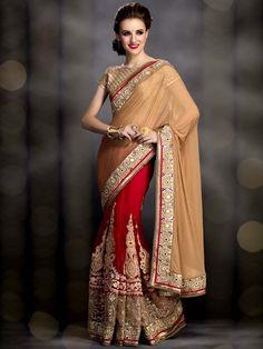 Attractive red, beige color net, shimmer #GeorgetteSaree with resham, kundan, pearls work. Item code : SUR7152 http://www.bharatplaza.com/new-arrivals/sarees.html