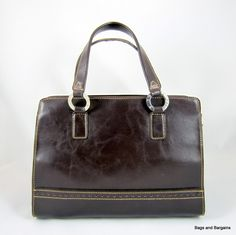 TOMMY HILFIGER Dark Brown Leather Satchel Handbag