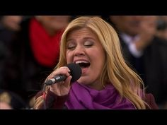 """Kelly Clarkson sings """"My Country Tis of Thee"""" on January 21, 2013 at the Presidential Inauguration of Mr. Obama."""