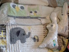 Vintage chenille baby blankets, elephant and owl and bunny. On Facebook.com/moxieandzab