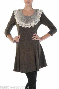 A'Reve Boutique Dark Brown Rabbit Fur Lace Neckline Dress Size s M L | eBay