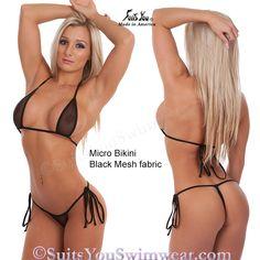 Sexy Micro Bikini, black mesh see through fabric with tie side string bikini bottom.