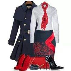 I would add a Navy sweater, lose the scarf, and pick the red shoes. Super cute