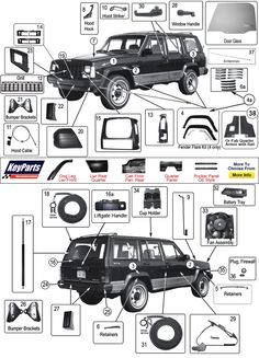 engine bay schematic showing major electrical ground points for jeep cherokee xj jeep body parts morris 4x4 center