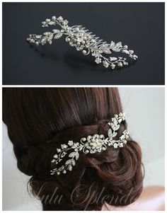 Bridal Hair Comb Wedding Hair Piece Vine Headpiece by LuluSplendor