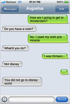 Text messages between Augustus and Hazel