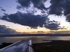 airplane view of Lake Champlain, Vermont at Sunset