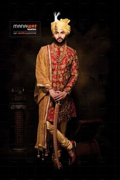 Exclusive range of mens wedding sherwani by Manawat. Explore latest collection of sherwani for men by Manawat.