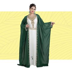 Look effortlessly chic in this delightful boho Kaftan set! 💕  This 3 piece set includes a white inner, a bottle green cape, and a belt.  Product no: 7270 Kaftan Abaya, Beach Kaftan, 3 4 Sleeve Dress, Stylish Dresses, 3 Piece, Cape, Sequins, Dresses With Sleeves, Belt