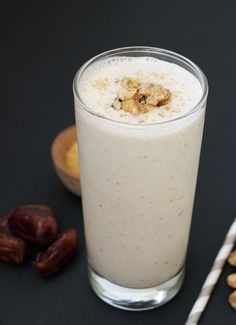 Banana Walnut Date Shake! A creamy, healthy treat. Perfect when you want something sweet, but nothing too indulgent! {Dairy-Free, Paleo}