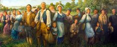 My great-grandfather, Pierre Richard, is the man on the left (tan jacket with blue pants). This is one of the biggest finds in my genealogy research! Acadian Memorial - The Arrival of the Acadians mural - St. Louisiana History, Louisiana Homes, Louisiana Art, Acadie, Family Weekend, Lake Charles, My Heritage, New Orleans, Photo Art